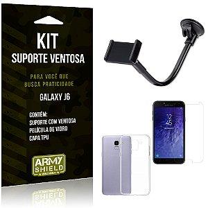Kit Suporte Ventosa Samsung J6 Suporte + Capa + Película  - Armyshield