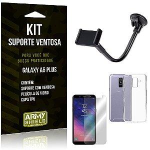 Kit Suporte Ventosa Samsung A6 Plus Suporte + Capa + Película  - Armyshield