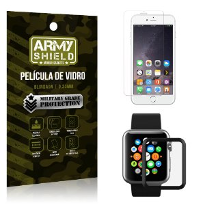 Kit Proteção Apple iPhone 6-6S Plus e Watch Película iPhone + Película Watch 38mm - Armyshield