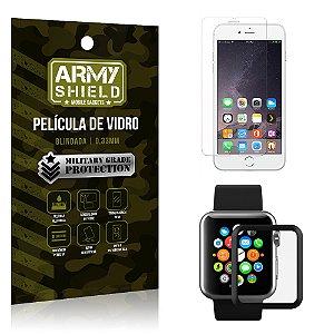 Kit Proteção Apple iPhone 6-6S Plus e Watch Película iPhone + Película Watch 42mm - Armyshield
