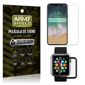 Kit Proteção Apple iPhone X e Watch Película iPhone X + Película Watch 42mm - Armyshield