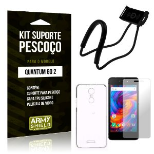 Kit Suporte Pescoço Quantum Go 2 Suporte + Capa + Película - Armyshield