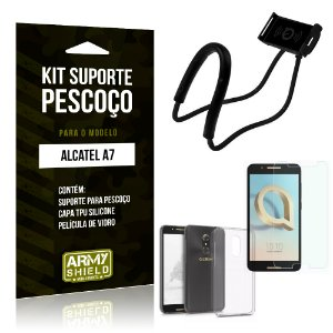 Kit Suporte Pescoço Alcatel A7 Suporte + Capa + Película - Armyshield