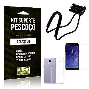Kit Suporte Pescoço Samsung J6 Suporte + Capa + Película - Armyshield