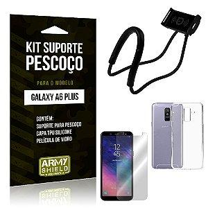 Kit Suporte Pescoço Samsung A6 Plus Suporte + Capa + Película - Armyshield