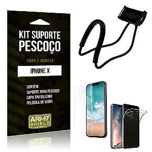 Kit Suporte Pescoço Apple iPhone X Suporte + Capa + Película - Armyshield