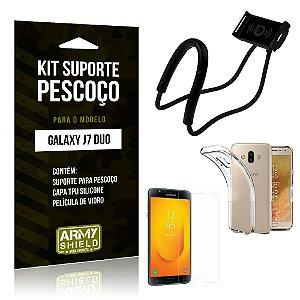 Kit Suporte Pescoço Samsung J7 Duo Suporte + Capa + Película - Armyshield