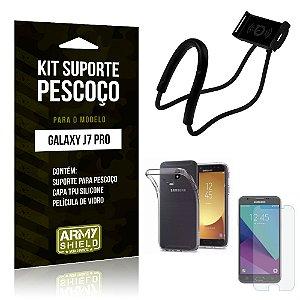 Kit Suporte Pescoço Samsung J7 Pro Suporte + Capa + Película - Armyshield