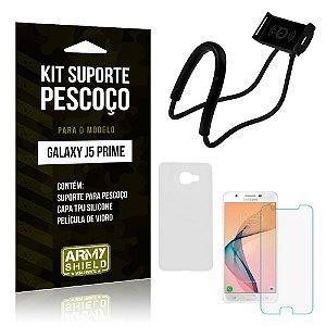 Kit Suporte Pescoço Samsung J5 Prime Suporte + Capa + Película - Armyshield