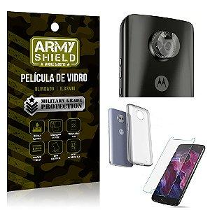 Kit Película de Lente Câmera + Película de Vidro + Capa Silicone Motorola Moto X4 - Armyshield