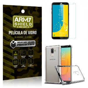 Kit Capa Anti Shock + Película Vidro Samsung Galaxy J8 - Armyshield