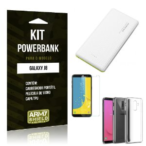 Kit Powerbank Galaxy J8 Powerbank + Película + Capa - Armyshield