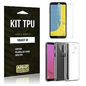 Kit Capa Silicone Galaxy J8 Película + Capa - Armyshield