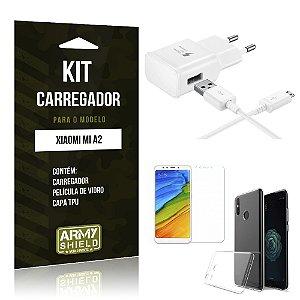 Kit Carregador Xiaomi Mi A2 Carregador Tipo C + Película + Capa - Armyshield