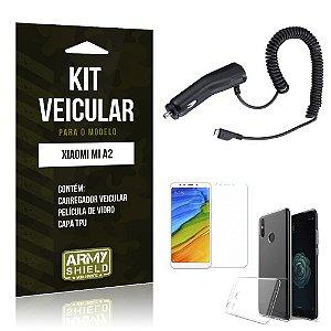 Kit Carregador Veicular Xiaomi Mi A2 Carregador Tipo C + Película + Capa - Armyshield
