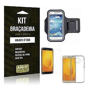 Kit Braçadeira Samsung Galaxy J7 Duo  Braçadeira + Película + Capa - Armyshield