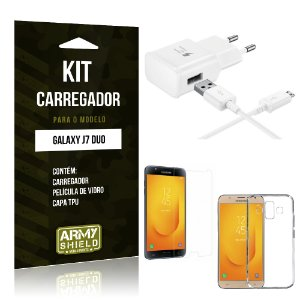 Kit Carregador Samsung Galaxy J7 Duo  Carregador + Película + Capa - Armyshield