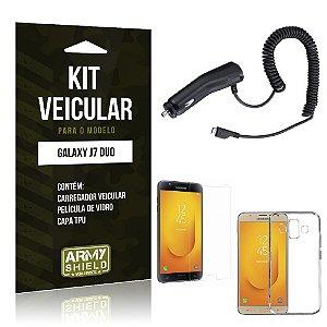 Kit Carregador Veicular Samsung Galaxy J7 Duo  Carregador + Película + Capa - Armyshield