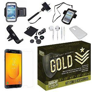 Kit Gold Samsung Galaxy J7 Duo  com 8 Acessórios - Armyshield