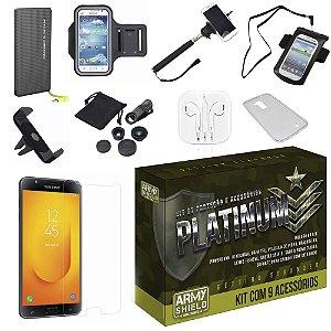 Kit Platinum Samsung Galaxy J7 Duo  com 9 Acessórios - Armyshield