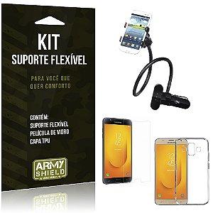 Kit Suporte Flexível Samsung Galaxy J7 Duo  Suporte + Película + Capa - Armyshield