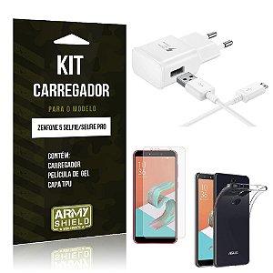 Kit Carregador Zenfone 5 Selfie - Selfie Pro ZC600KL  Carregador + Película + Capa - Armyshield