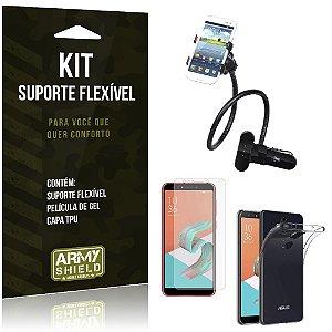 Kit Suporte Flexível Zenfone 5 Selfie - Selfie Pro ZC600KL  Suporte + Película + Capa - Armyshield