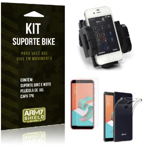 Kit Suporte Moto Bike Zenfone 5 Selfie - Selfie Pro ZC600KL  Suporte + Película + Capa - Armyshield