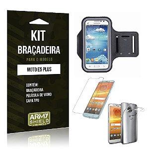 Kit Braçadeira Motorola Moto E5 Plus  Braçadeira + Película + Capa - Armyshield