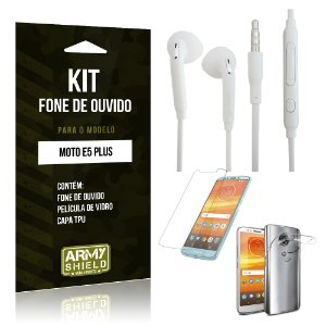 Kit Fone de Ouvido Motorola Moto E5 Plus  Fone + Película + Capa - Armyshield