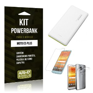 Kit Powerbank Motorola Moto E5 Plus  Powerbank + Película + Capa - Armyshield