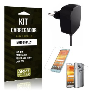 Kit Carregador Motorola Moto E5 Plus  Carregador + Película + Capa - Armyshield