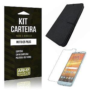 Kit Capa Carteira Motorola Moto E5 Plus  Capa Carteira + Película - Armyshield