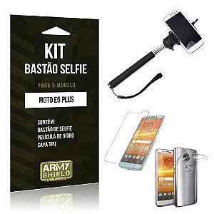 Kit Bastão Selfie Motorola Moto E5 Plus  Bastão + Película + Capa - Armyshield