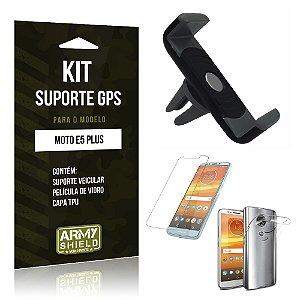 Kit Suporte Veicular Motorola Moto E5 Plus  Suporte + Película + Capa - Armyshield