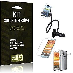 Kit Suporte Flexível Motorola Moto E5 Plus  Suporte + Película + Capa - Armyshield