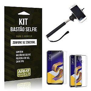 Kit Bastão Selfie Zenfone 5Z ZS620KL  Bastão + Película + Capa - Armyshield