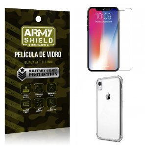 Kit Capa Anti Shock + Película Vidro Apple iPhone XR 6.1 - Armyshield