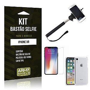 Kit Bastão Selfie Apple iPhone XR 6.1 Bastão + Película + Capa - Armyshield