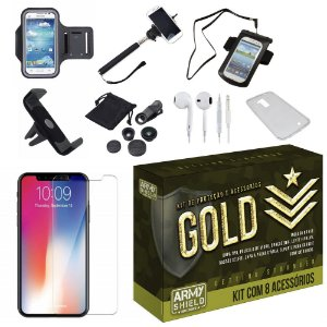 Kit Gold Apple iPhone XR 6.1 com 8 Acessórios - Armyshield