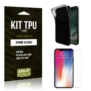 Kit Capa Fumê Apple iPhone XS Max 6.5 Película + Capa Fumê - Armyshield