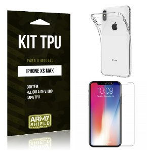 Kit Capa Silicone Apple iPhone XS Max 6.5 Película + Capa - Armyshield