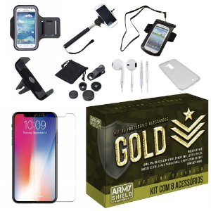 Kit Gold Apple iPhone XS Max 6.5 com 8 Acessórios - Armyshield