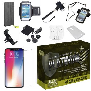 Kit Platinum Apple iPhone XS Max 6.5 com 9 Acessórios - Armyshield