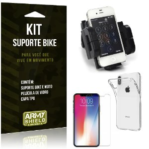 Kit Suporte Moto Bike Apple iPhone XS Max 6.5 Suporte + Película + Capa - Armyshield