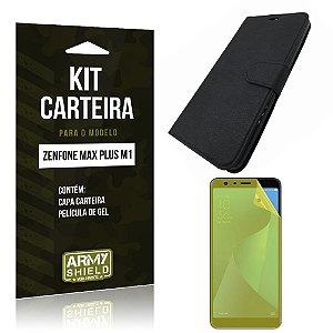 Kit Capa Carteira Zenfone Max Plus M1 ZB570TL Capa Carteira + Película - Armyshield