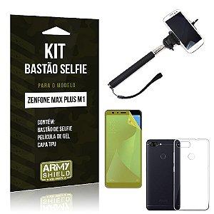 Kit Bastão Selfie Zenfone Max Plus M1 ZB570TL Bastão + Película + Capa - Armyshield