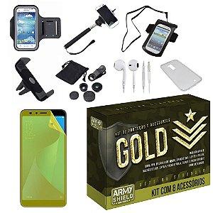 Kit Gold Zenfone Max Plus M1 ZB570TL com 8 Acessórios - Armyshield
