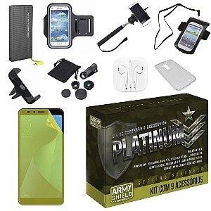 Kit Platinum Zenfone Max Plus M1 ZB570TL com 9 Acessórios - Armyshield