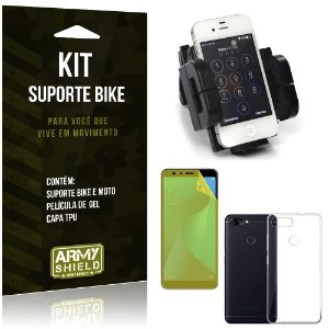 Kit Suporte Moto Bike Zenfone Max Plus M1 ZB570TL Suporte + Película + Capa - Armyshield